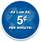 As low as 5 cent per minute